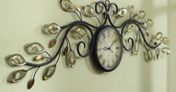 Decorative Scroll & Leaves Metal Wall Clock