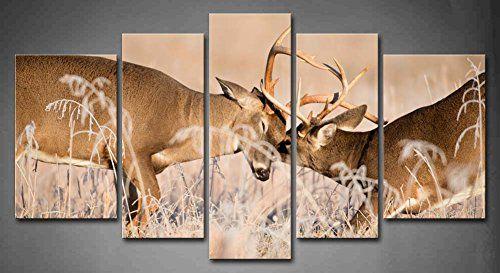 5 Panel Wall Art White Tailed Deer Bucks