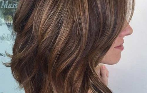 Layered Lob Hairstyles Brunette Highlights Shoulder