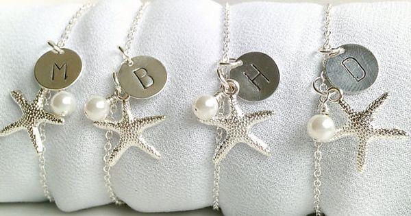Set Of 4 Personalized Starfish Bridesmaid Bracelets, Beach