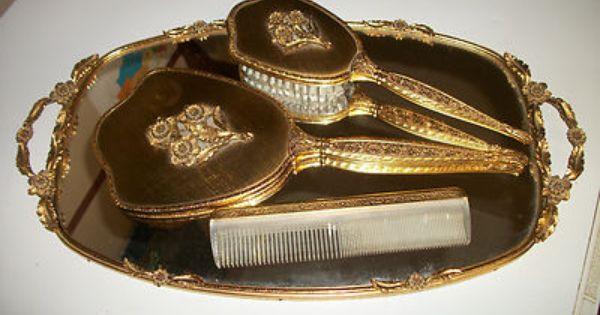 Antique Matson Gold Ormolu Vanity Mirror Tray Brush Comb