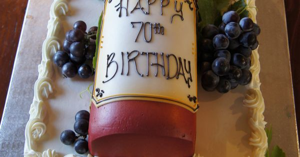 Red Wine Bottle Birthday Cake With Customized Label And
