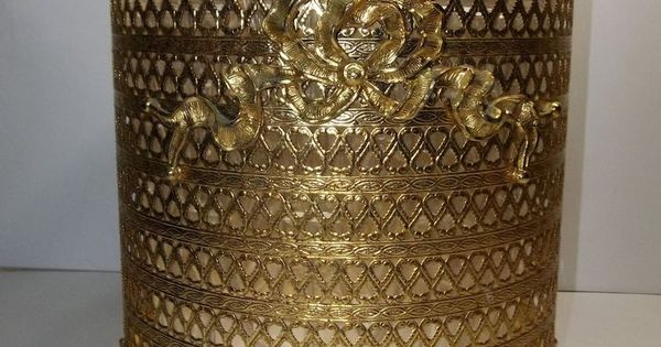 Vintage Stylebuilt Gold Ormolu WASTE BASKET Bows Hollywood