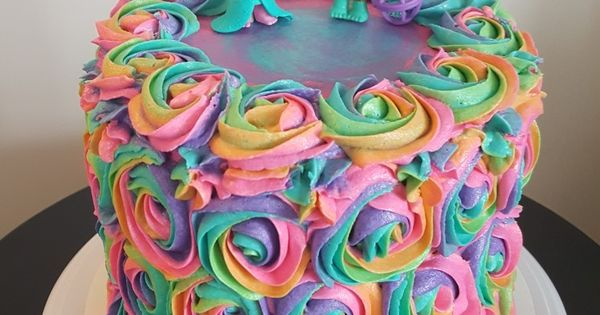 Trolls Rainbow Rosette Birthday Cake Heavenly
