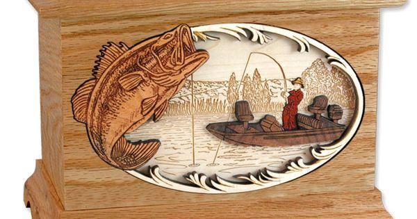 Ambassador Boat Fishing Cremation Urn With Inlay Wood Art