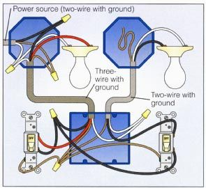 2way Switch with Lights Wiring Diagram | Electrical | Pinterest | Lights, Electrical wiring and
