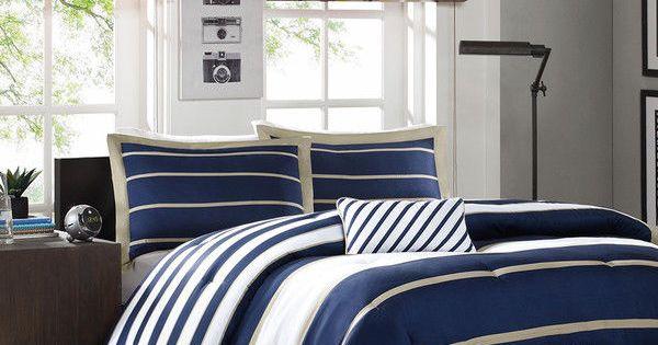 Details About Sporty Blue White Navy Tan Stripe Soft