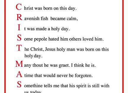 Christmas Poems For Church Christmas Acrostic Poems For