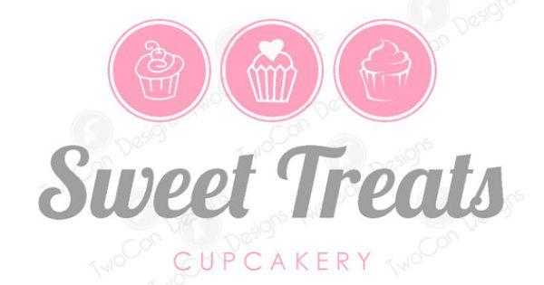 Fun & Cute Cursive Handwriting Cupcake Bakery Logo, Custom