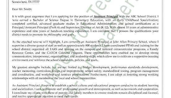 Vice Principal Resume Cover Letter Assistant