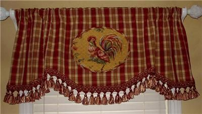 French Country Kitchen Curtains On Scalloped Valance Curtain French Country Rooster Toile Red