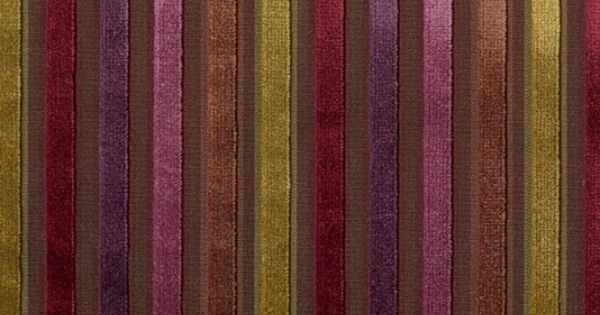 Canoga Velvet Plum Claret Brown And Gold Striped Velvet