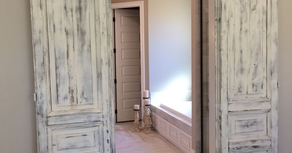 Master Bath Entrance With Our Antique French Paneled Doors