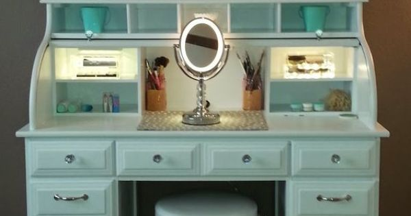 Roll Top Desk Makeover By Chelsea Lloyd Vanity Makeup Station Upcycling DIY Desk White
