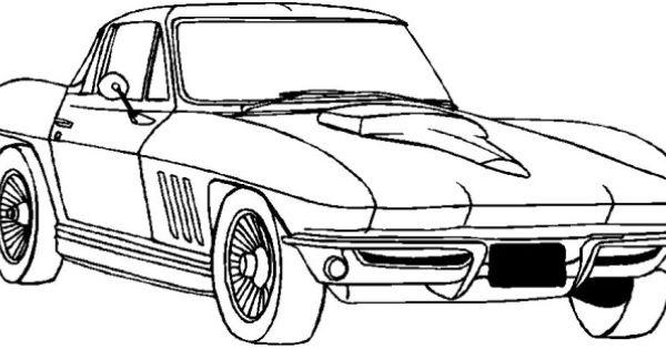 corvette classic coloring page  corvette  pinterest