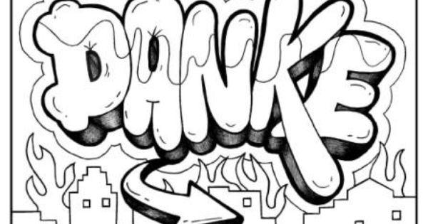 DANKE German Graffiti Free Printable Coloring Page