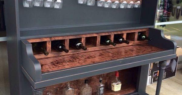 Restore An Old Piano Into A Wine Rack Bar Omg Swooooon
