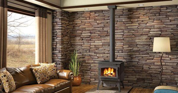 Wood Stove With Ledgestone Back Wall Living Room