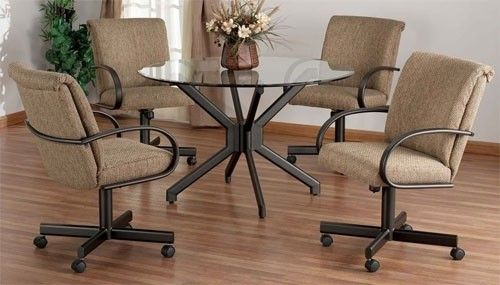 Sets Chairs Dining Casters