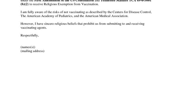 Vaccine exemption letter sample for school thecheapjerseys Gallery