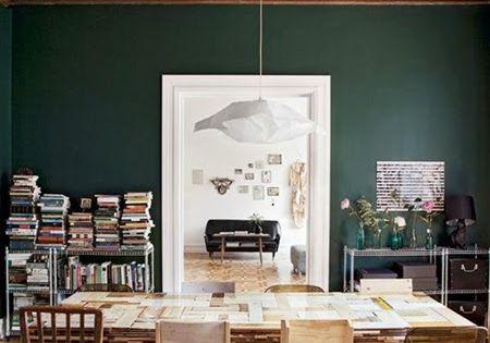 Dark Hunter Green Dining Room Library Wall Paint Color Benjamin Moore Hunter Richmond House