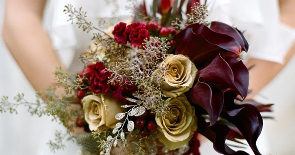 Burgundy And Gold Bridal Bouquet California Weddings At