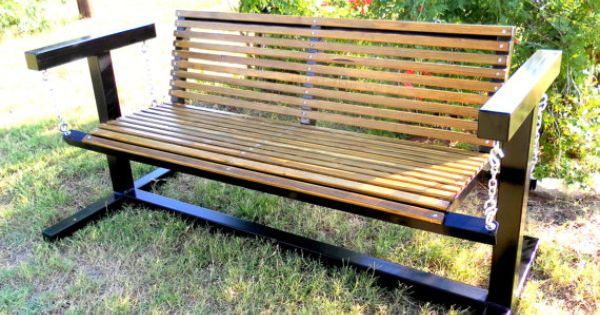 Glider Swing With Metal Frame And Wood Seat By