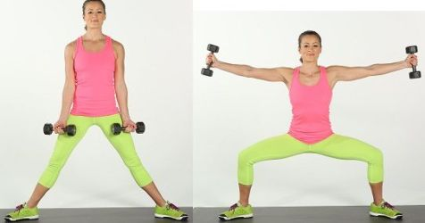 Image result for Sumo Squat With Side-Arm Raises: