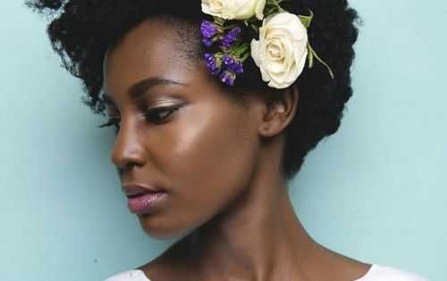 Flowers In Her Fro Black Bride Natural Wedding Hair