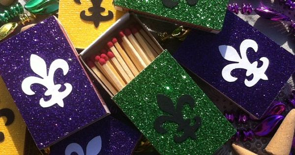 10 Mardis Gras New Orleans Themed Matchbox Wedding Favors
