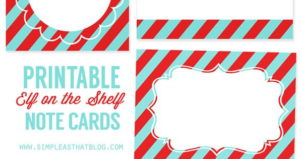 Printable Elf On The Shelf Note Cards Note Cards Elves