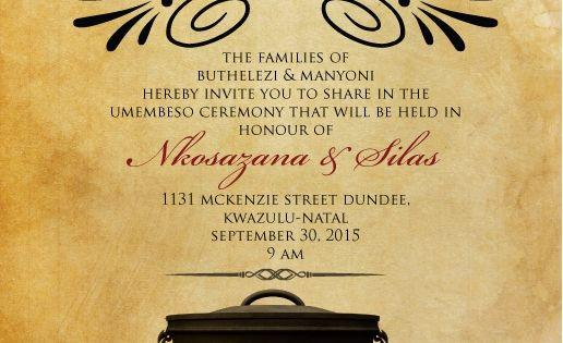 Zulu Traditional Wedding Invitation Cards
