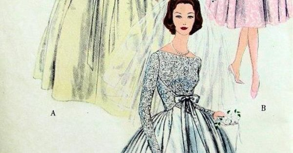 Beautiful 1950s Wedding Gown Or Bridesmaid Dress Pattern