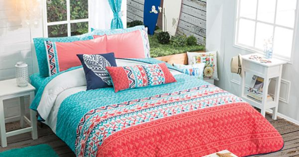 Twin Full Queen Girls And Teens Aztec Trendy Comforter Set Matching Curtains Room