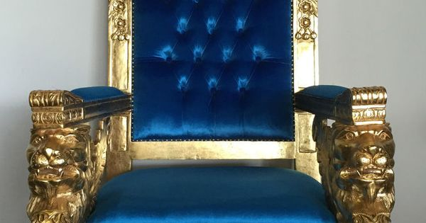 Blue Suede Accent Chair