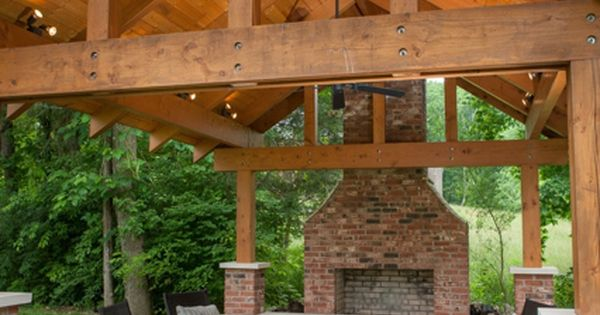 Pavilion With Fireplace And Gabled Ceiling Backyard Pavilions Pinterest Lighting