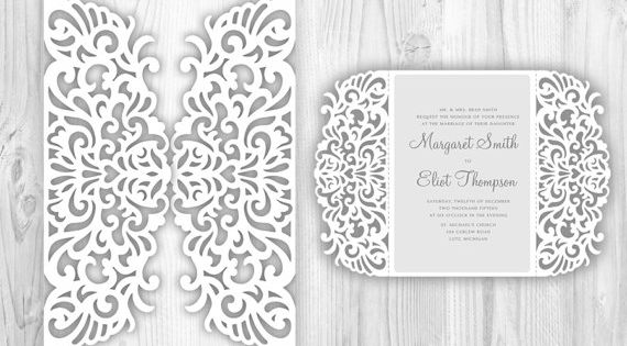 Laser Cut Wedding Invitation Template Lace Fold Card Pattern Cricut Silhouette Cameo Brother