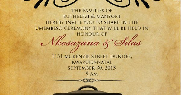 Zulu Traditional Wedding Invitation Cards Designs