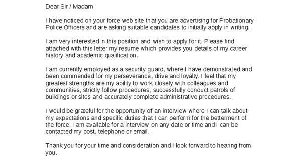 Police Officer Cover Letter Example Cover Letter Pinterest Cover Letter Example And Letter