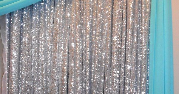 Silver Sequin Backdrop With Tiffany Blue Draping Httpwwwnor Valeventscom Quince