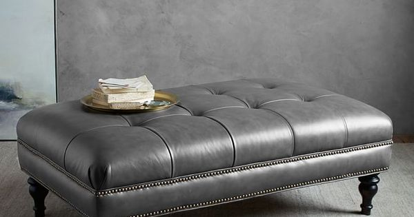 Martin Tufted Leather Ottoman: Gray Leather
