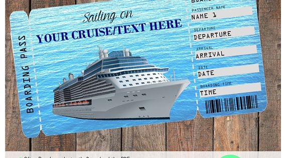 Printable Cruise Vacation Surprise Ticket Boarding Pass Ticket Boarding Pass Printable Fillable