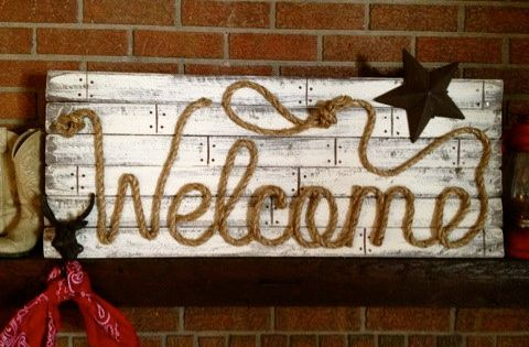 WELCOME Western Wood Rope Sign Decor Country Rustic