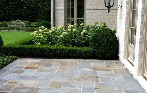 Easy Diy Patio Ideas Boxwood Hedge Stone Patios And