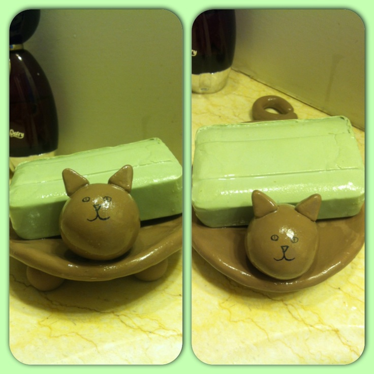 DIY ANIMAL SOAP DISH Take oven bake clay(sold at Walmart