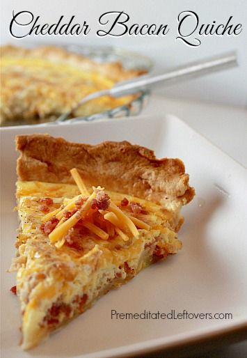 This Cheddar Bacon Quiche recipe comes together quickly. This quiche recipe is very flexible allowing you to use what ever