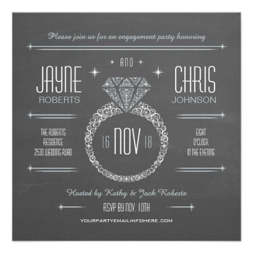 Chalkboard Engagement Ring Party Invitation Engagement