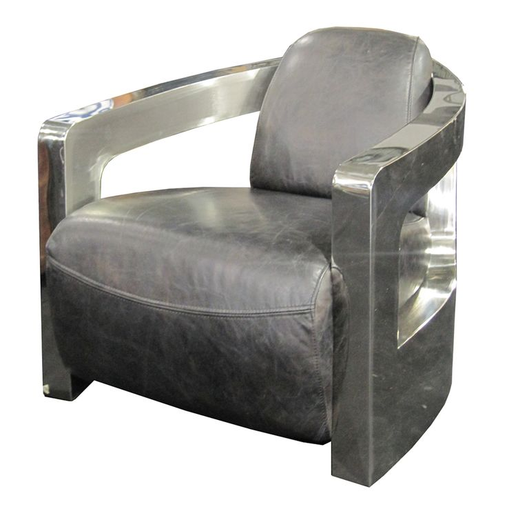 Four Hands Carnegie Sinclair Grey Leather Club Chair