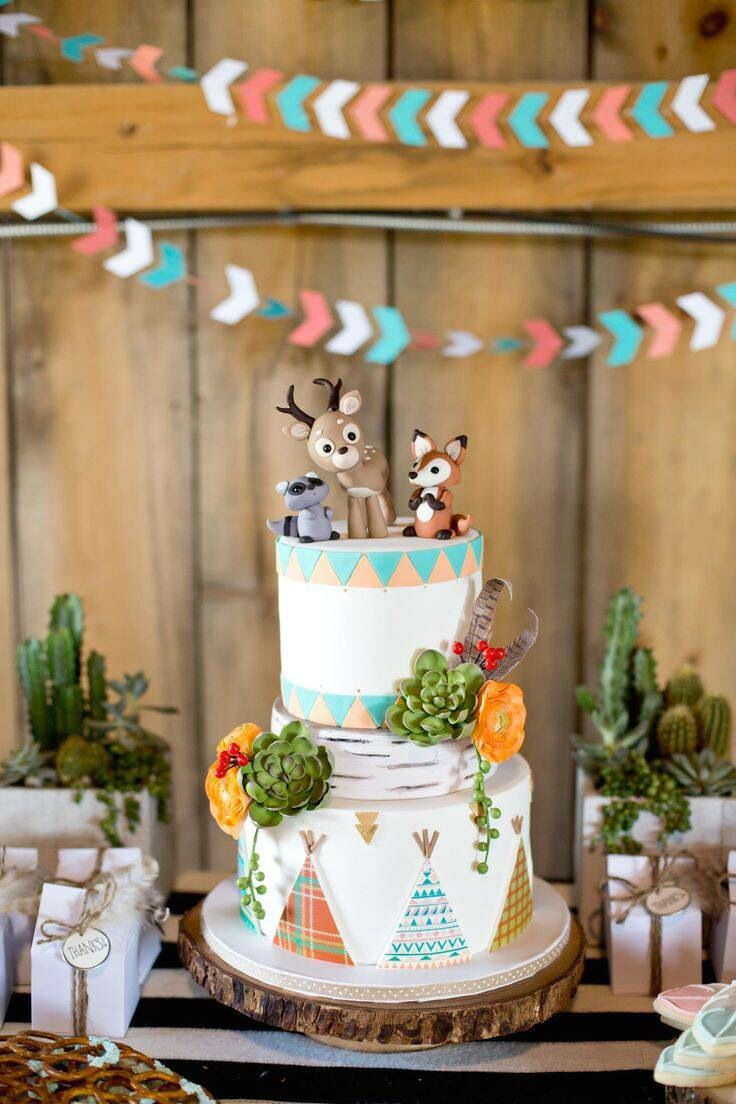 Amazing woodland Indian cake! teepee indian birthday