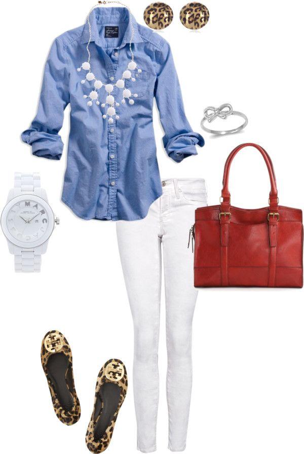White jeans, chambray shirt, J.Crew bubble necklace, Marc Jacobs white ceramic w